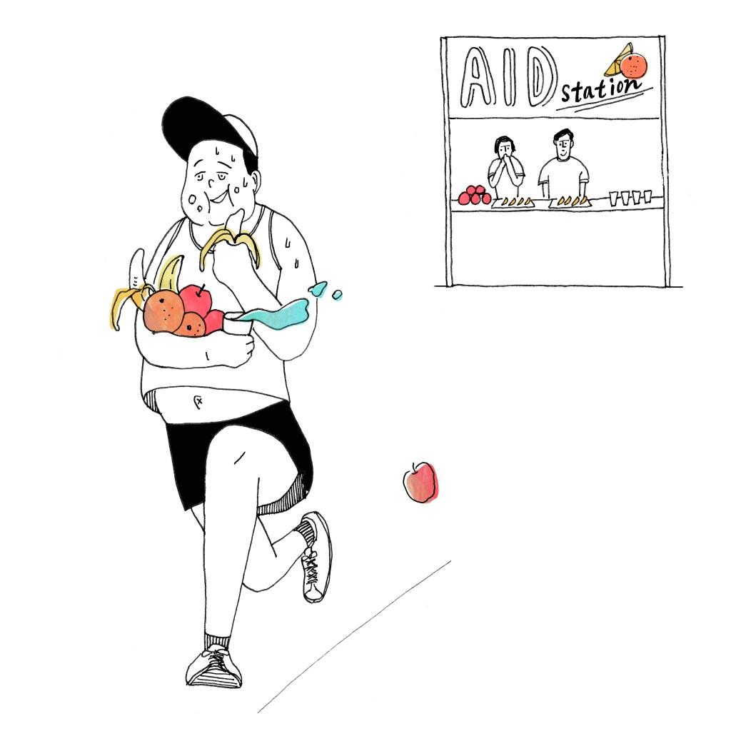 「【ランナーあるある】エイドで食べ過ぎてしまい、ゴールする頃にはお腹いっぱい。」の画像