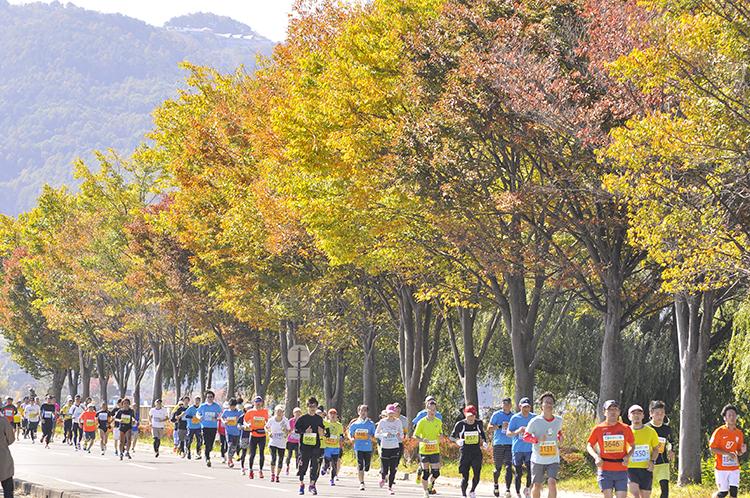 「秋の諏訪湖を一周するハーフマラソン大会 第28回諏訪湖マラソン」の画像