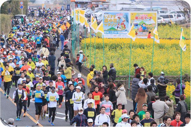 「ふかし芋やぜんざいなどが振る舞われる「おもてなし日本一」の大会! 第36回いぶすき菜の花マラソン」の画像